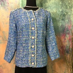 📌 Susan Graver Great Tweed Button Front Jacket